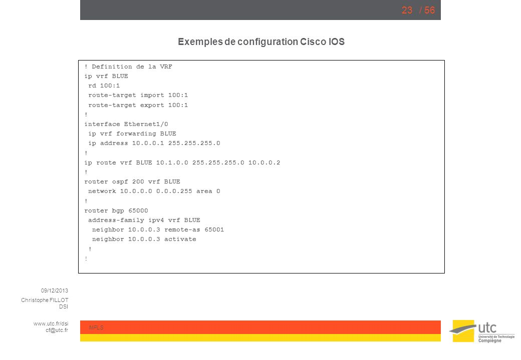 Exemples de configuration Cisco IOS
