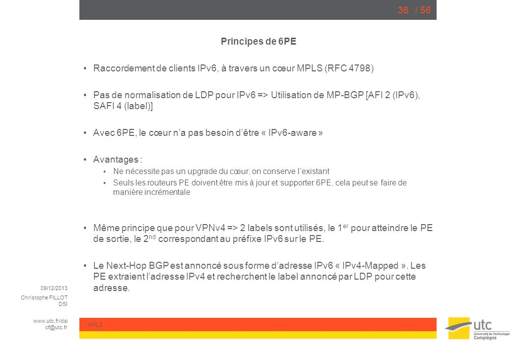 Raccordement de clients IPv6, à travers un cœur MPLS (RFC 4798)