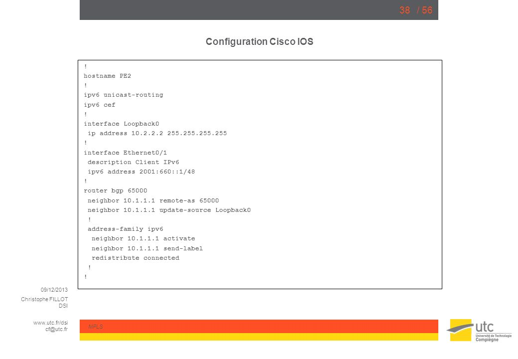Configuration Cisco IOS