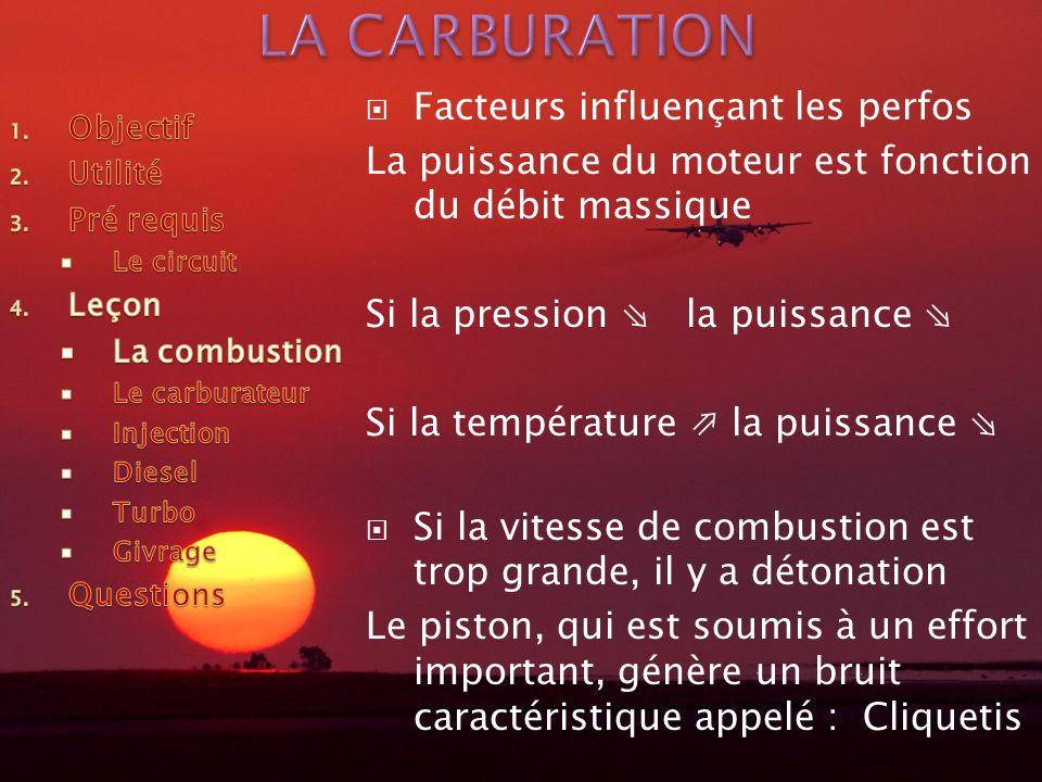 LA CARBURATION Facteurs influençant les perfos