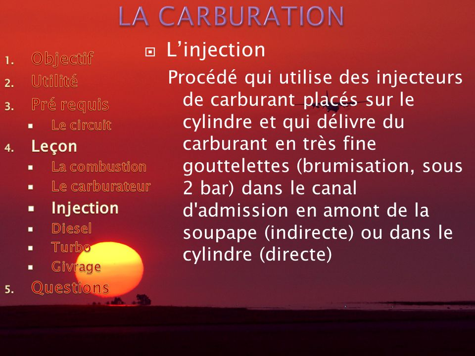 LA CARBURATION L'injection