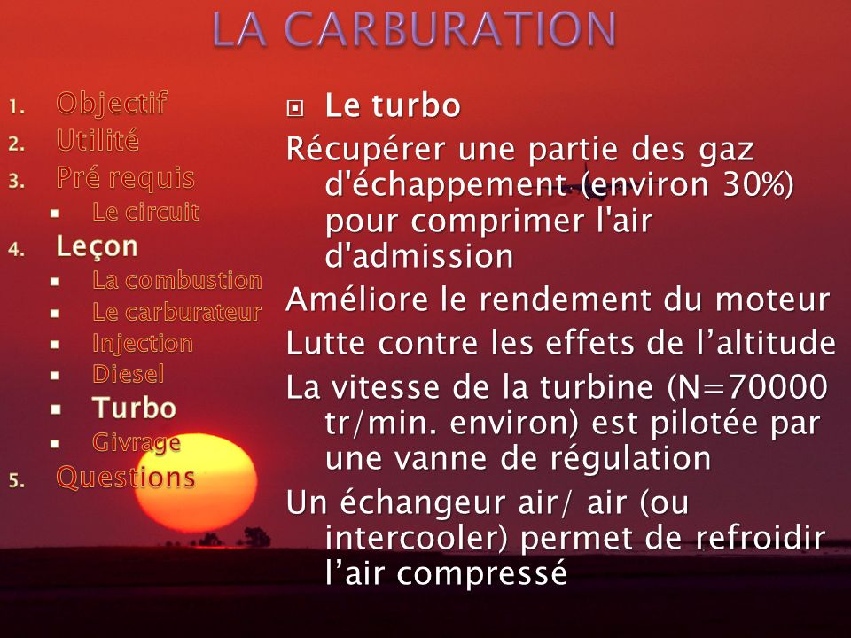 LA CARBURATION Le turbo