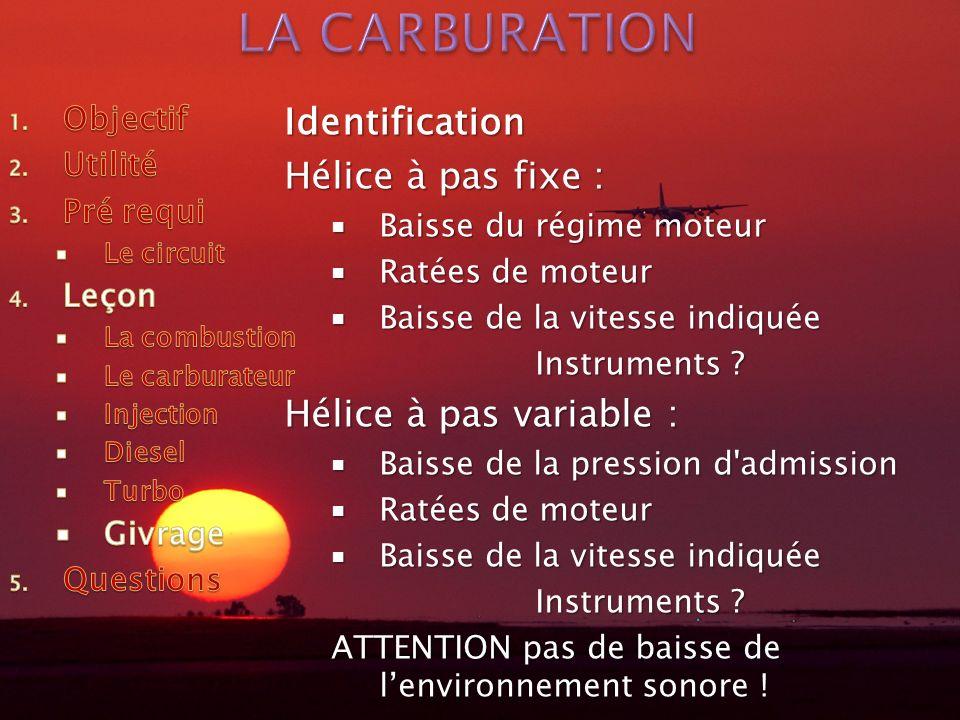 LA CARBURATION Identification Hélice à pas fixe :