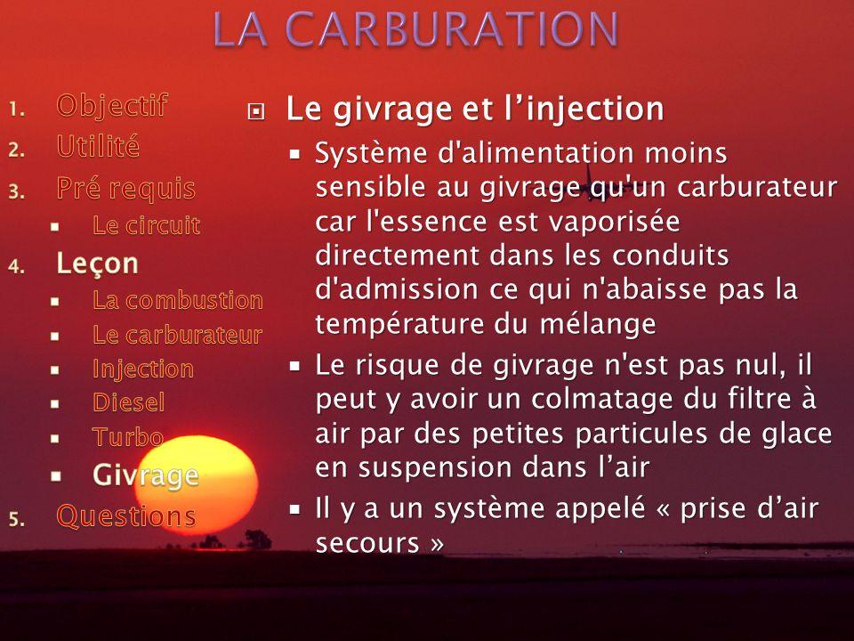 LA CARBURATION Le givrage et l'injection Objectif Utilité