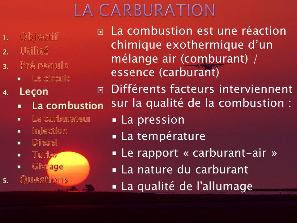 LA CARBURATION La combustion est une réaction chimique exothermique d'un mélange air (comburant) / essence (carburant)