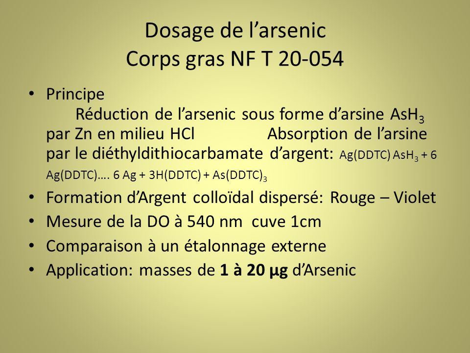 Dosage de l'arsenic Corps gras NF T 20-054