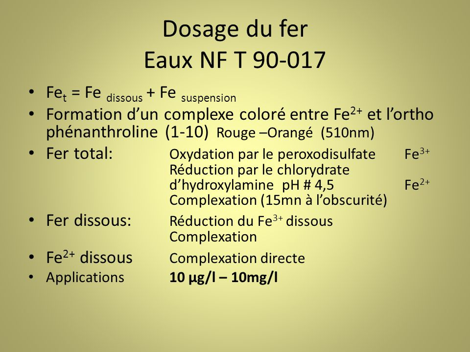 Dosage du fer Eaux NF T 90-017 Fet = Fe dissous + Fe suspension