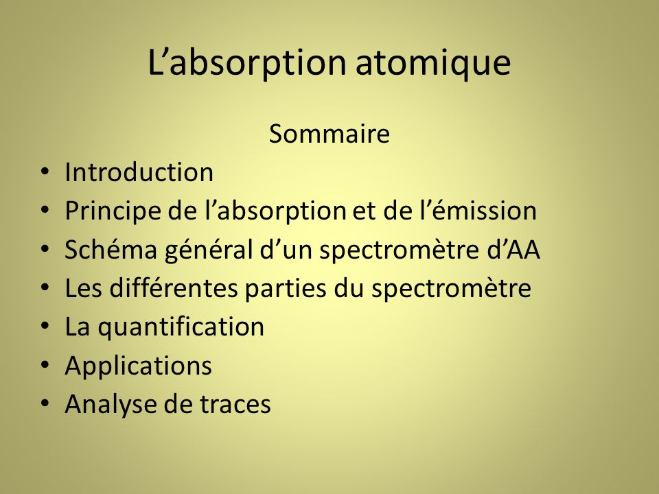 L'absorption atomique
