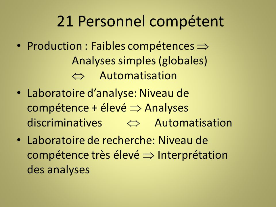 21 Personnel compétent Production : Faibles compétences  Analyses simples (globales)  Automatisation.