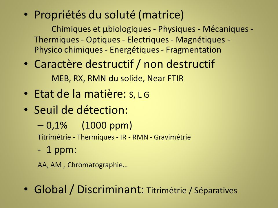 Global / Discriminant: Titrimétrie / Séparatives