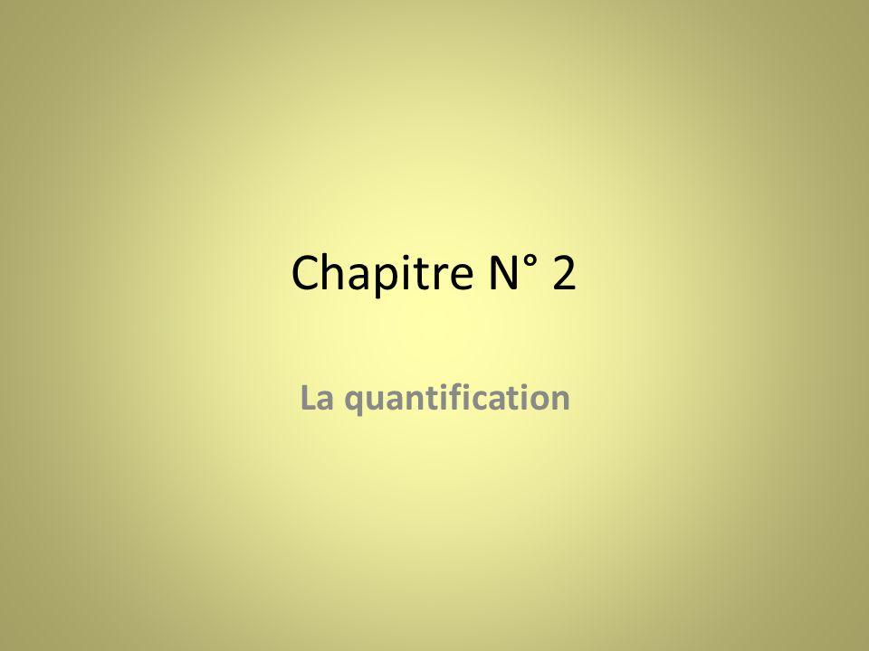 Chapitre N° 2 La quantification