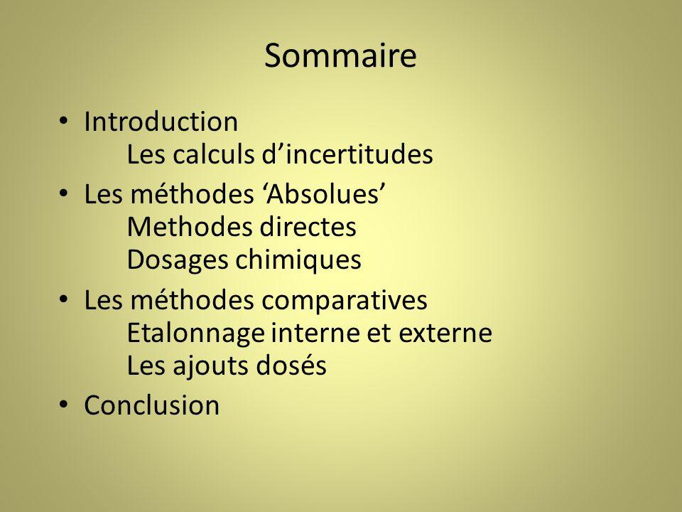 Sommaire Introduction Les calculs d'incertitudes