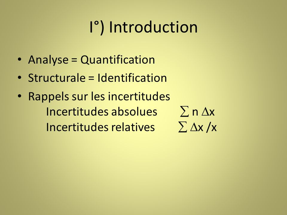 I°) Introduction Analyse = Quantification Structurale = Identification