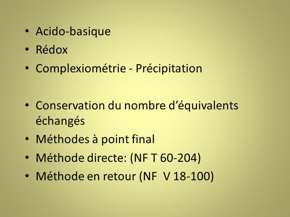 Acido-basique Rédox. Complexiométrie - Précipitation. Conservation du nombre d'équivalents échangés.