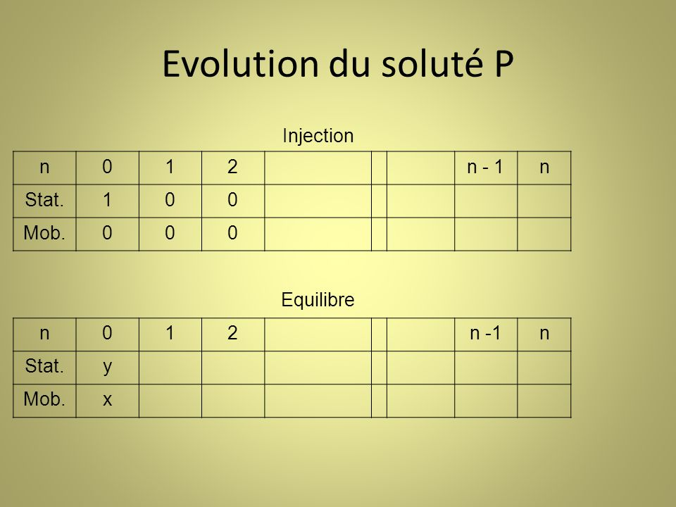 Evolution du soluté P Injection n 1 2 n - 1 Stat. Mob. Equilibre n -1