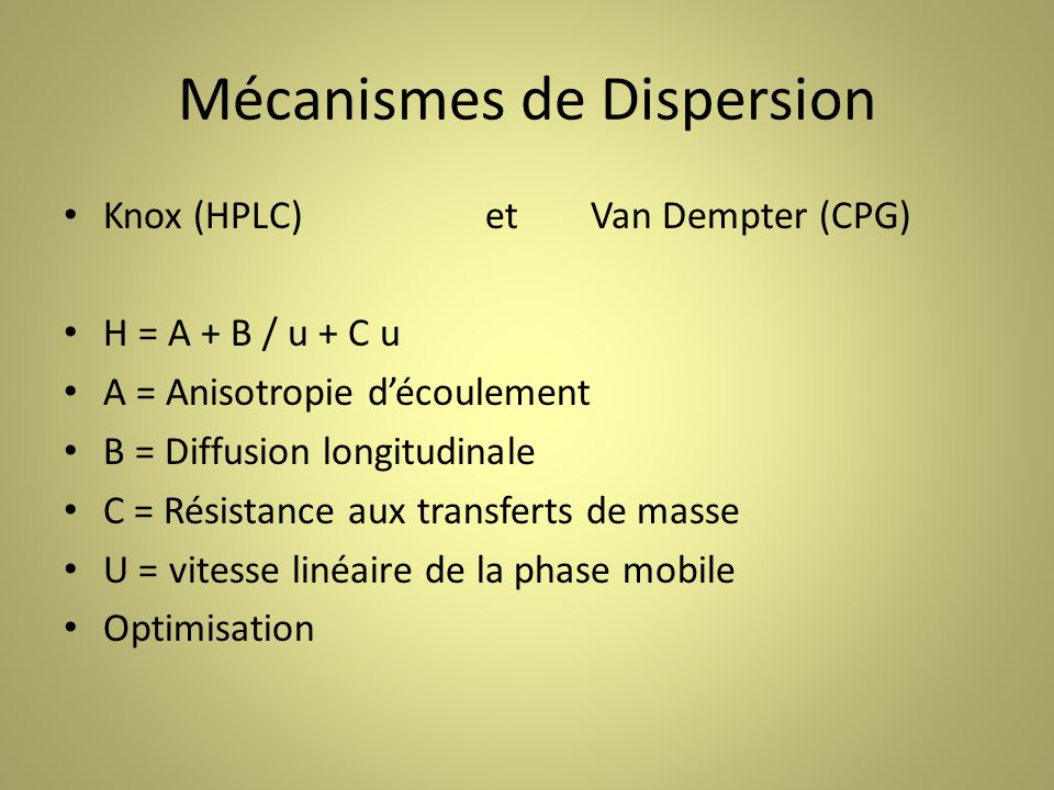 Mécanismes de Dispersion