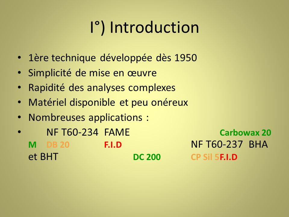 I°) Introduction 1ère technique développée dès 1950