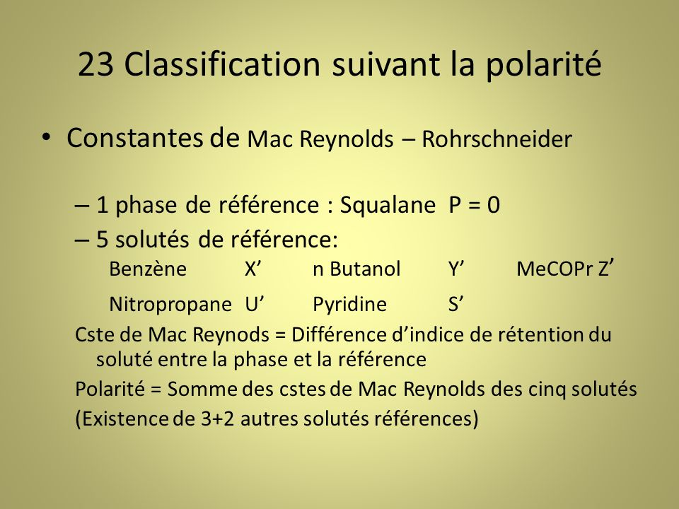 23 Classification suivant la polarité