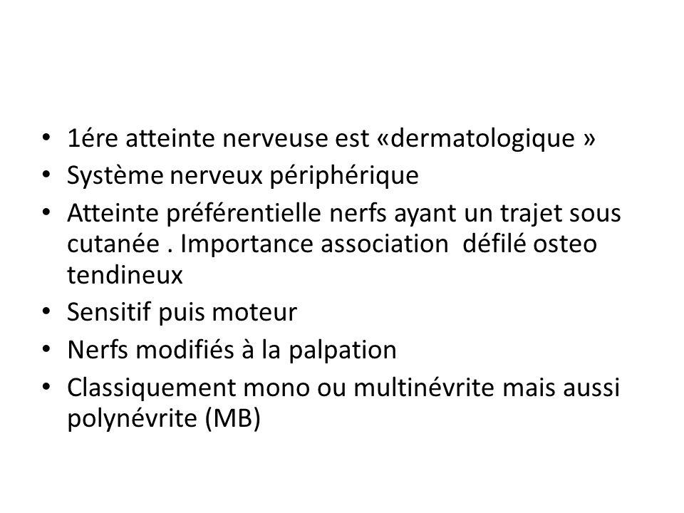 1ére atteinte nerveuse est «dermatologique »