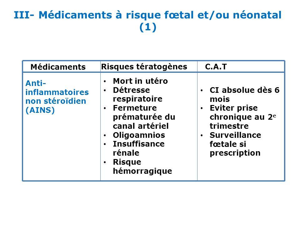 III- Médicaments à risque fœtal et/ou néonatal (1)