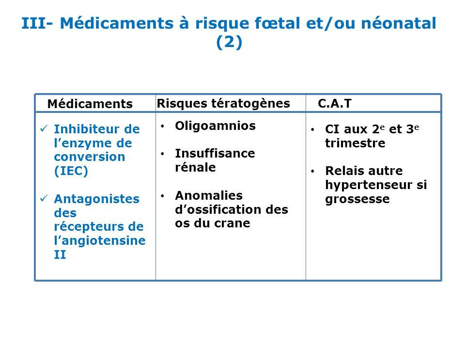 III- Médicaments à risque fœtal et/ou néonatal (2)