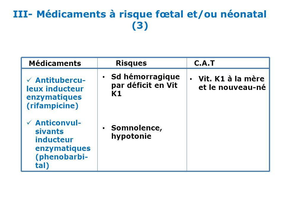 III- Médicaments à risque fœtal et/ou néonatal (3)