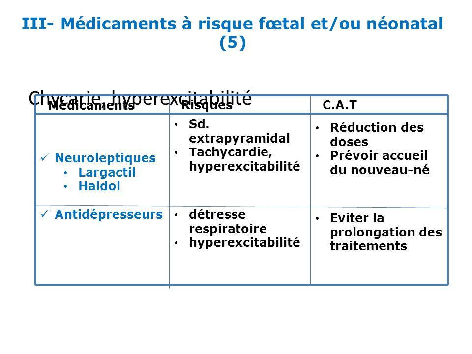 III- Médicaments à risque fœtal et/ou néonatal (5)