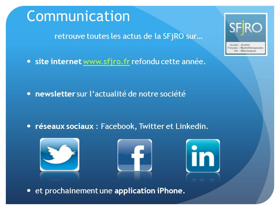 Communication retrouve toutes les actus de la SFjRO sur…
