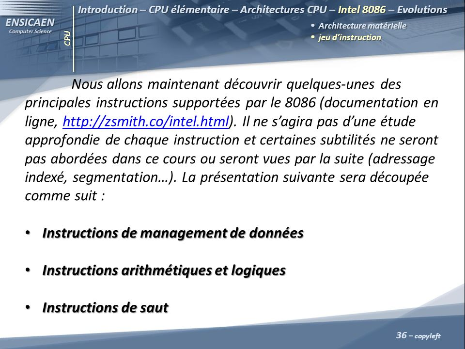 Instructions de management de données