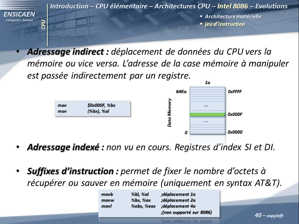 Adressage indexé : non vu en cours. Registres d'index SI et DI.