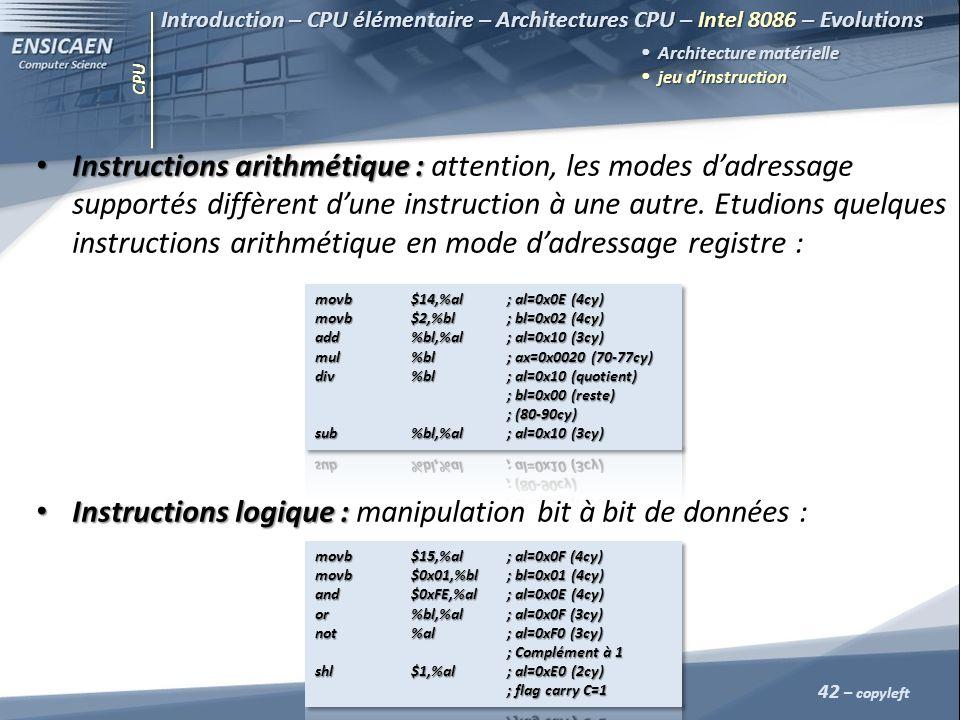 Instructions logique : manipulation bit à bit de données :