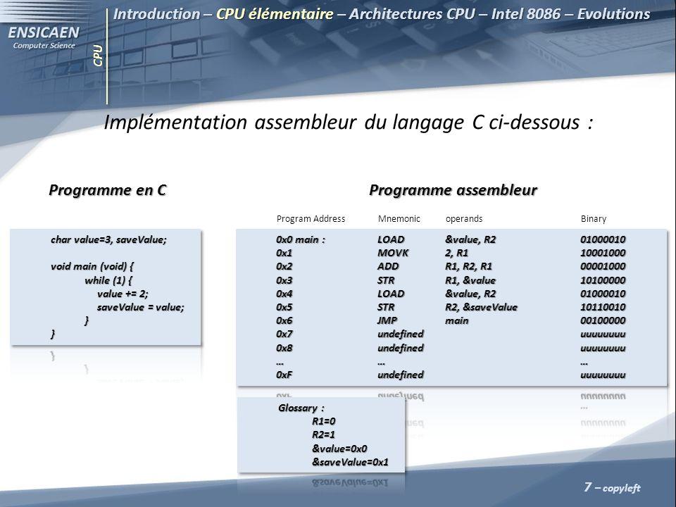 Implémentation assembleur du langage C ci-dessous :