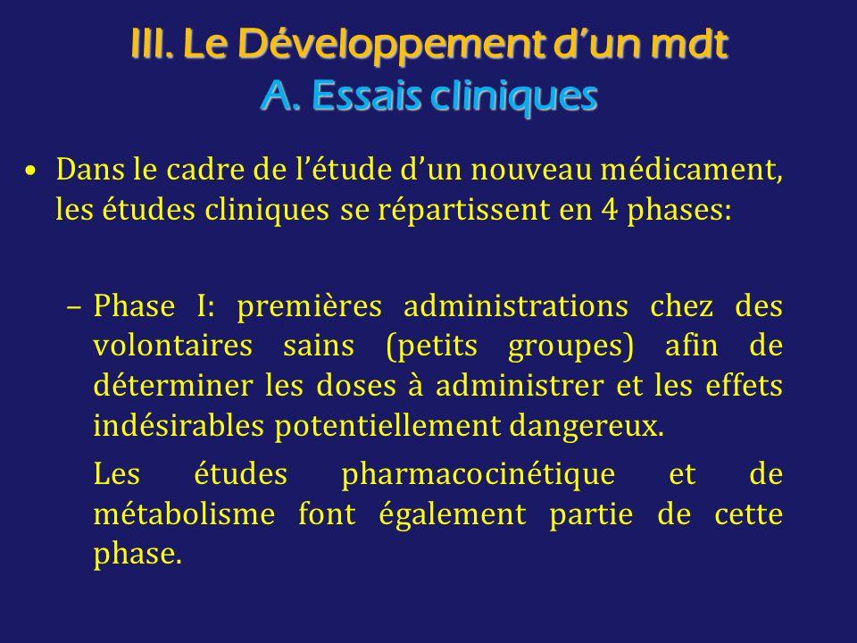 III. Le Développement d'un mdt A. Essais cliniques