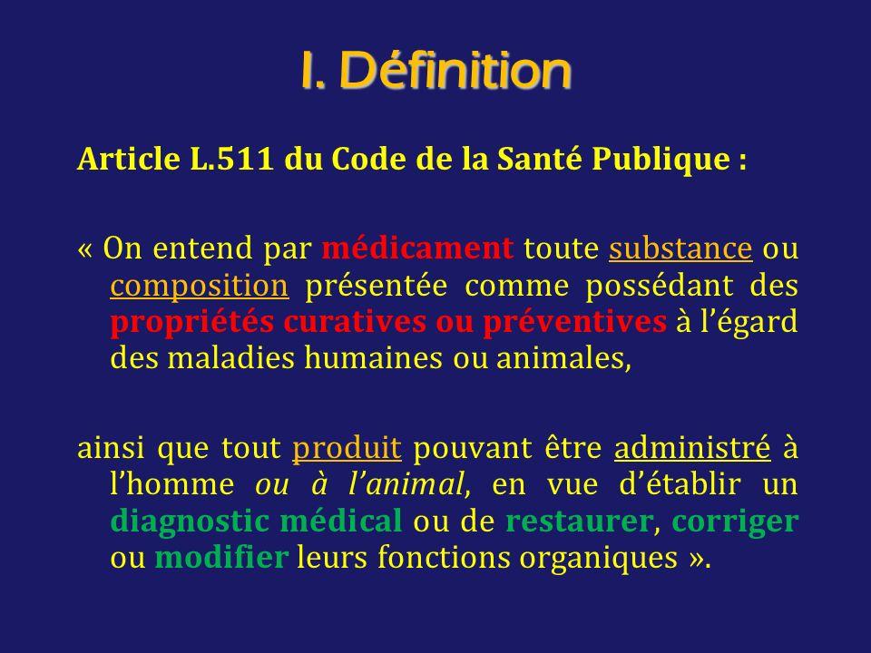 I. Définition Article L.511 du Code de la Santé Publique :