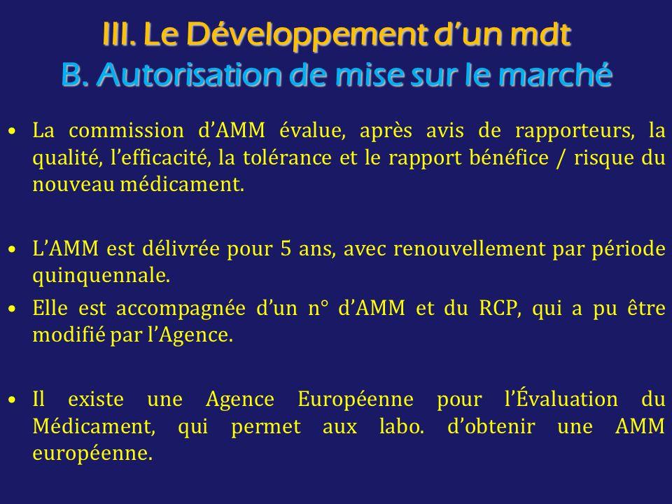 III. Le Développement d'un mdt B. Autorisation de mise sur le marché