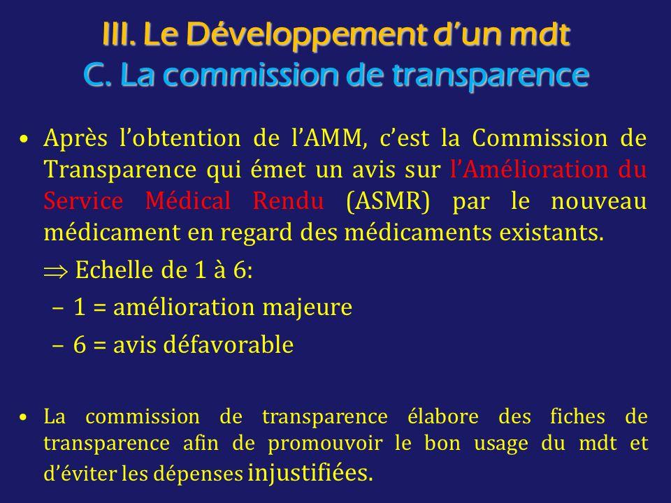 III. Le Développement d'un mdt C. La commission de transparence