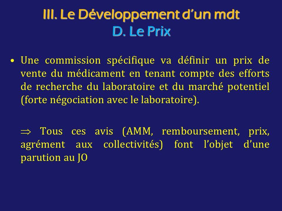 III. Le Développement d'un mdt D. Le Prix