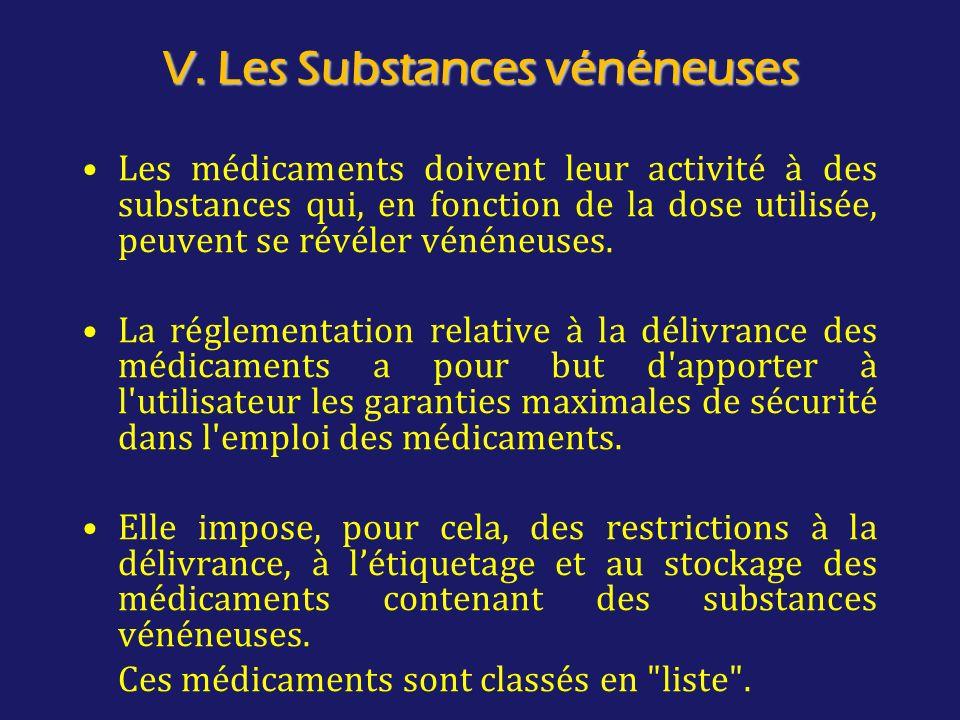 V. Les Substances vénéneuses