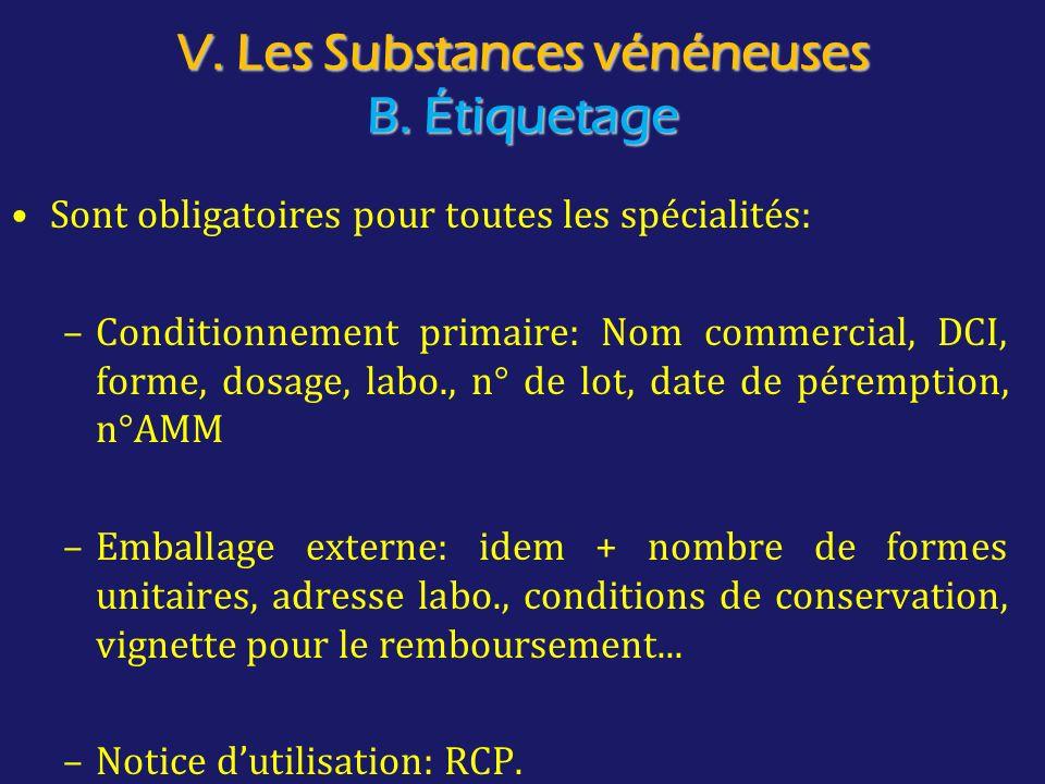 V. Les Substances vénéneuses B. Étiquetage