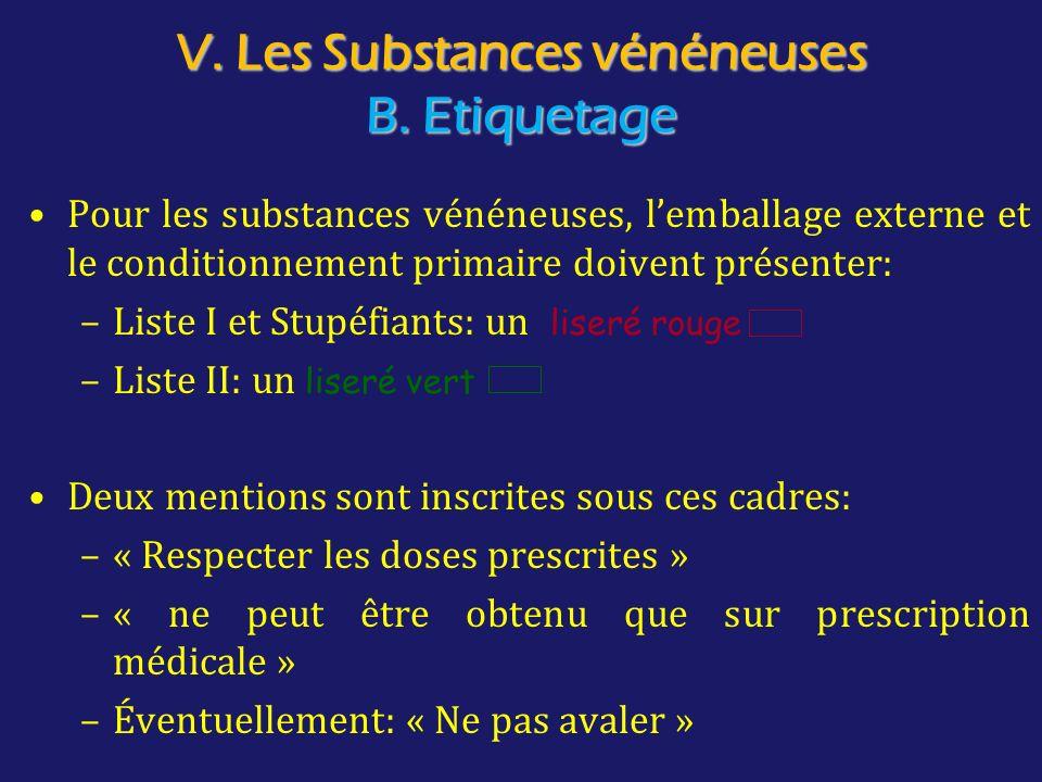 V. Les Substances vénéneuses B. Etiquetage