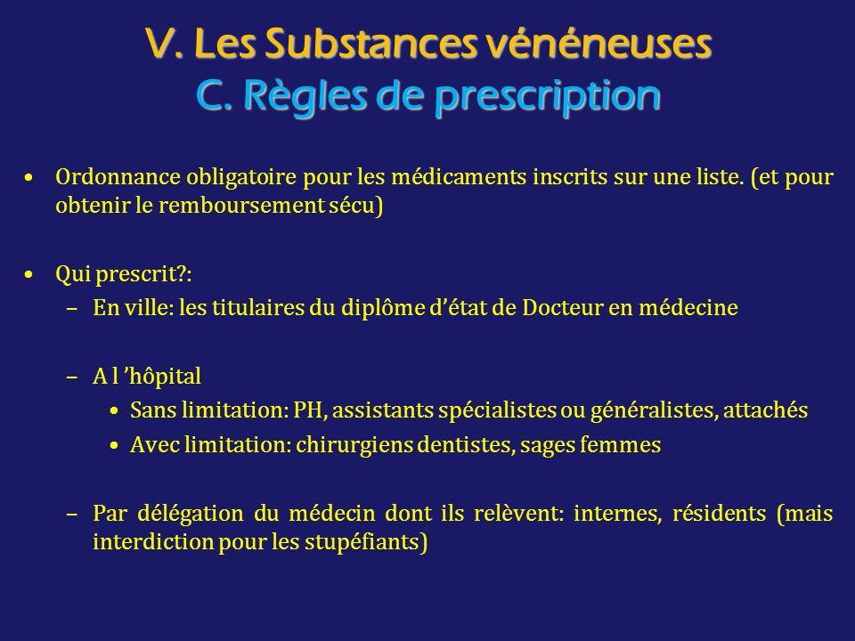 V. Les Substances vénéneuses C. Règles de prescription