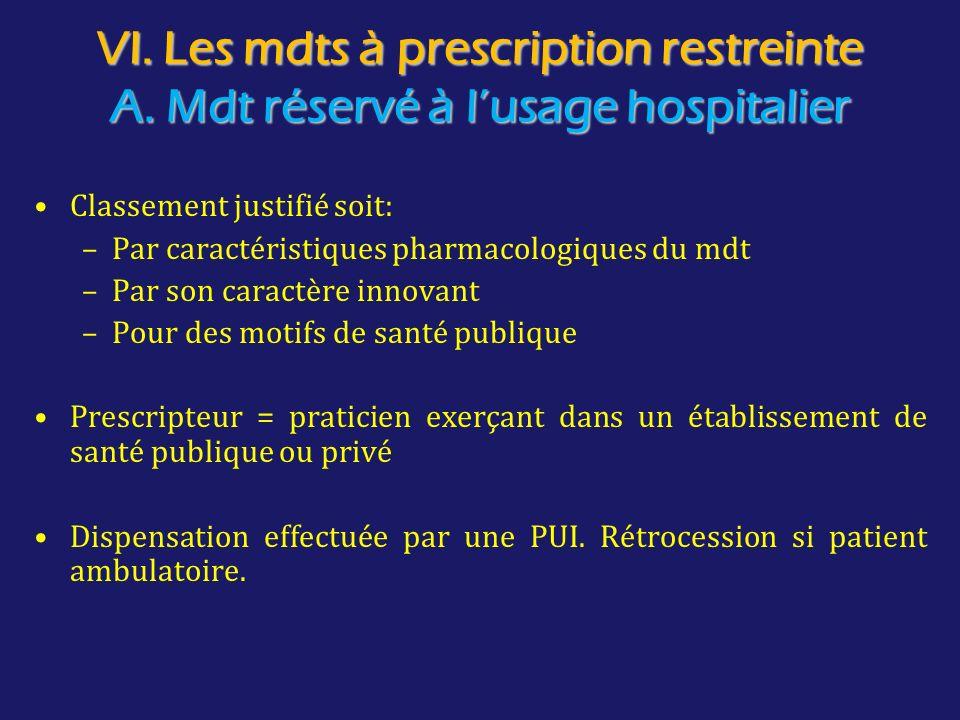 VI. Les mdts à prescription restreinte A