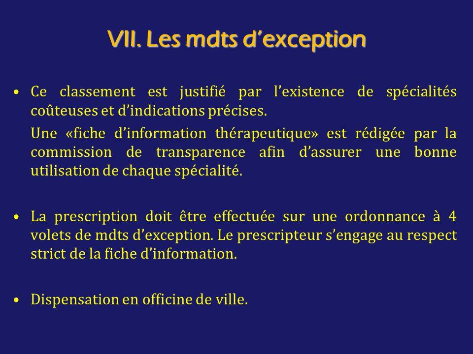 VII. Les mdts d'exception
