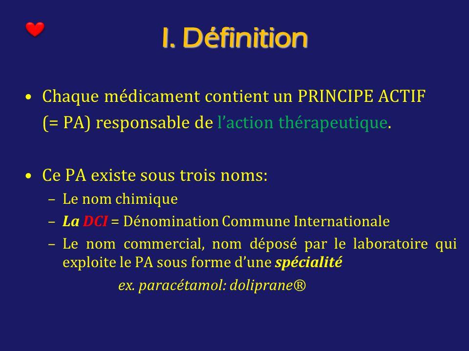 I. Définition Chaque médicament contient un PRINCIPE ACTIF