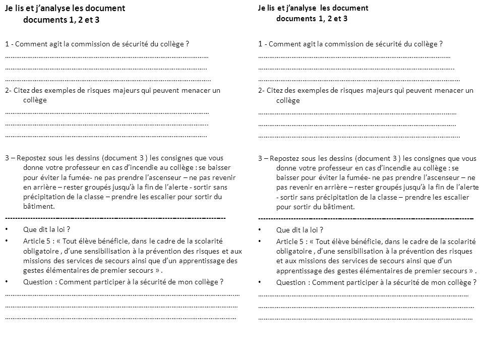 Je lis et j'analyse les document documents 1, 2 et 3