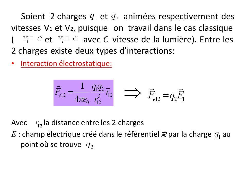 Soient 2 charges et animées respectivement des vitesses V1 et V2, puisque on travail dans le cas classique ( et avec C vitesse de la lumière). Entre les 2 charges existe deux types d'interactions: