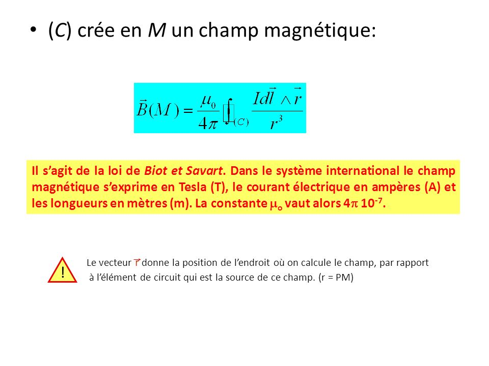 (C) crée en M un champ magnétique: