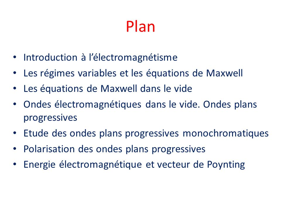 Plan Introduction à l'électromagnétisme