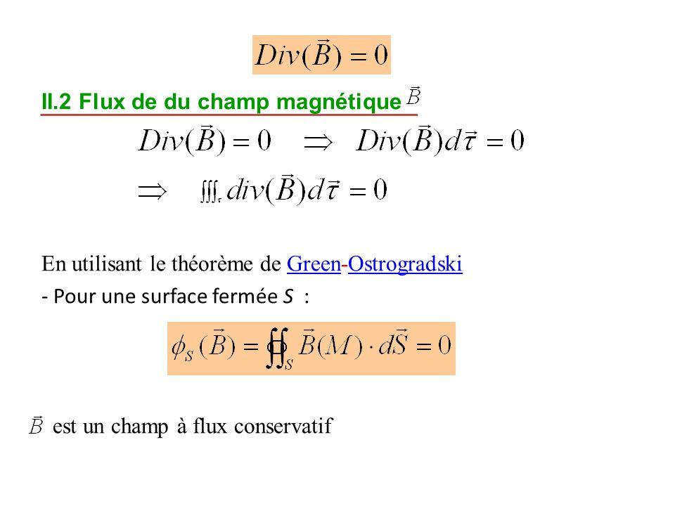 II.2 Flux de du champ magnétique En utilisant le théorème de Green-Ostrogradski - Pour une surface fermée S : est un champ à flux conservatif