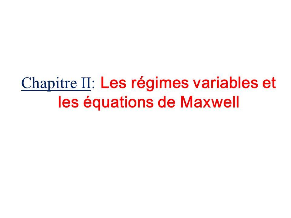 Chapitre II: Les régimes variables et les équations de Maxwell